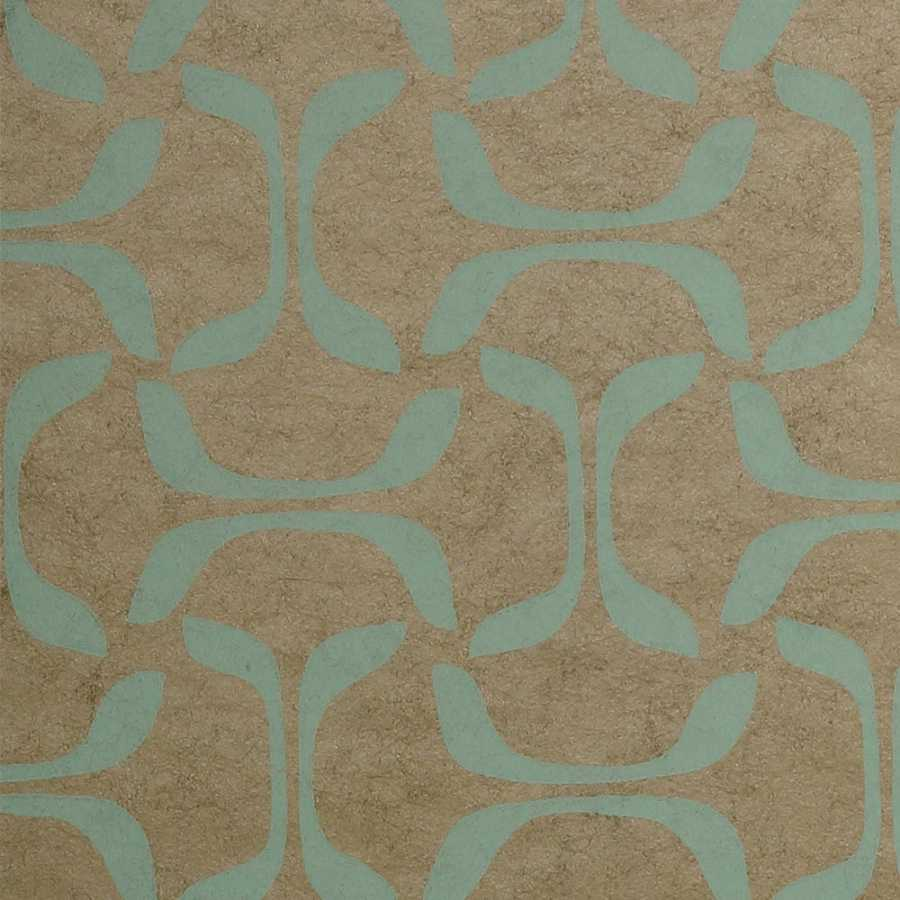 Thibaut Graphic Resource Saroka T35104 Aqua on Metallic Pewter Wallpaper