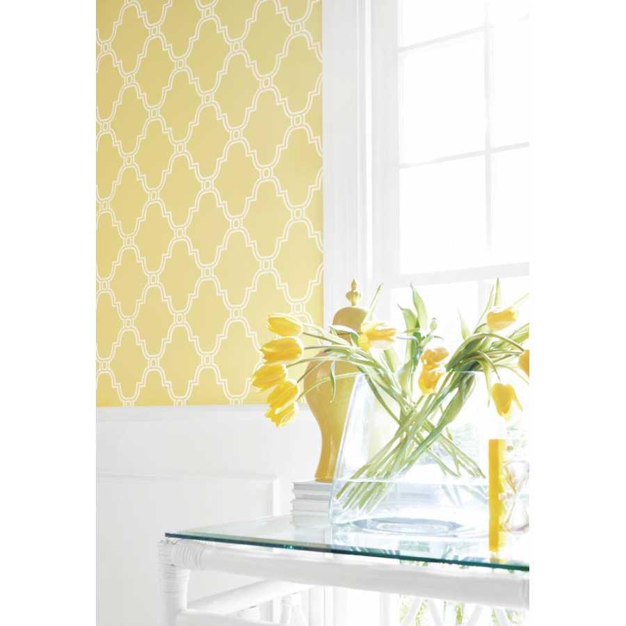 Thibaut Graphic Resource Stanbury Trellis T35118 Yellow Wallpaper