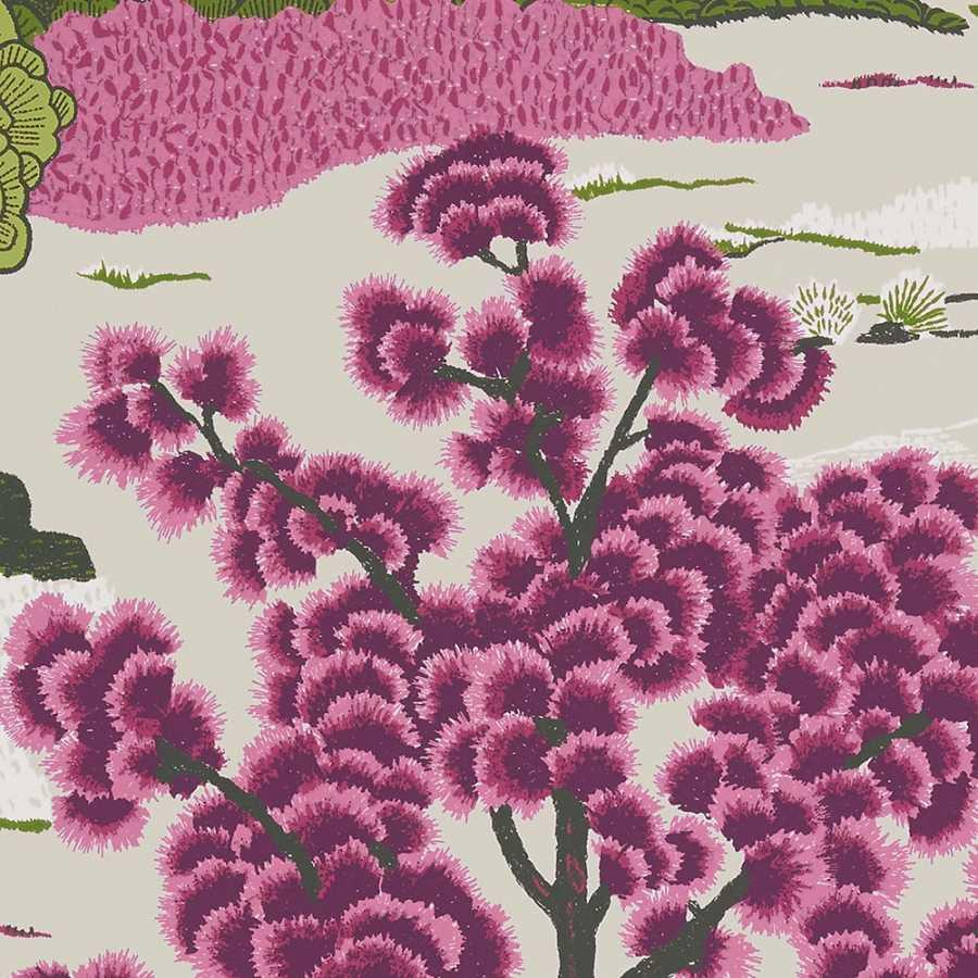 Thibaut Greenwood Daintree T85042 Fuchsia Wallpaper