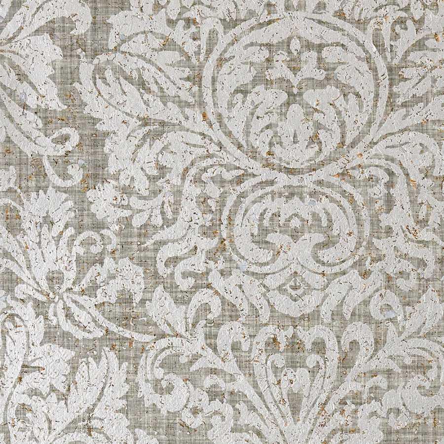 Thibaut Natural Resource 2 Kingsbury Damask T83035 Metallic Silver Wallpaper