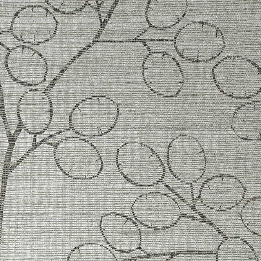 Thibaut Natural Resource 2 Money Tree T83014 Metallic Silver Wallpaper