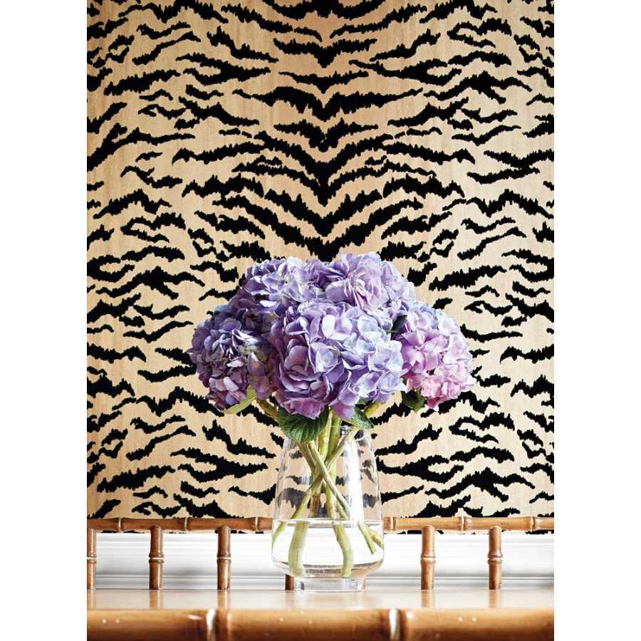 Thibaut Natural Resource 2 Tiger Flock T83062 Camel and Black Wallpaper