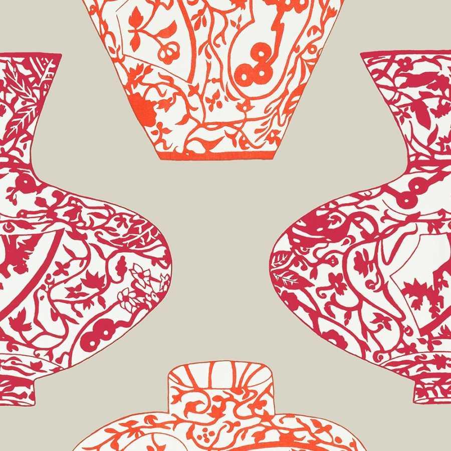 Thibaut Summer House Imari Vase T13123 Orange and Pink Wallpaper
