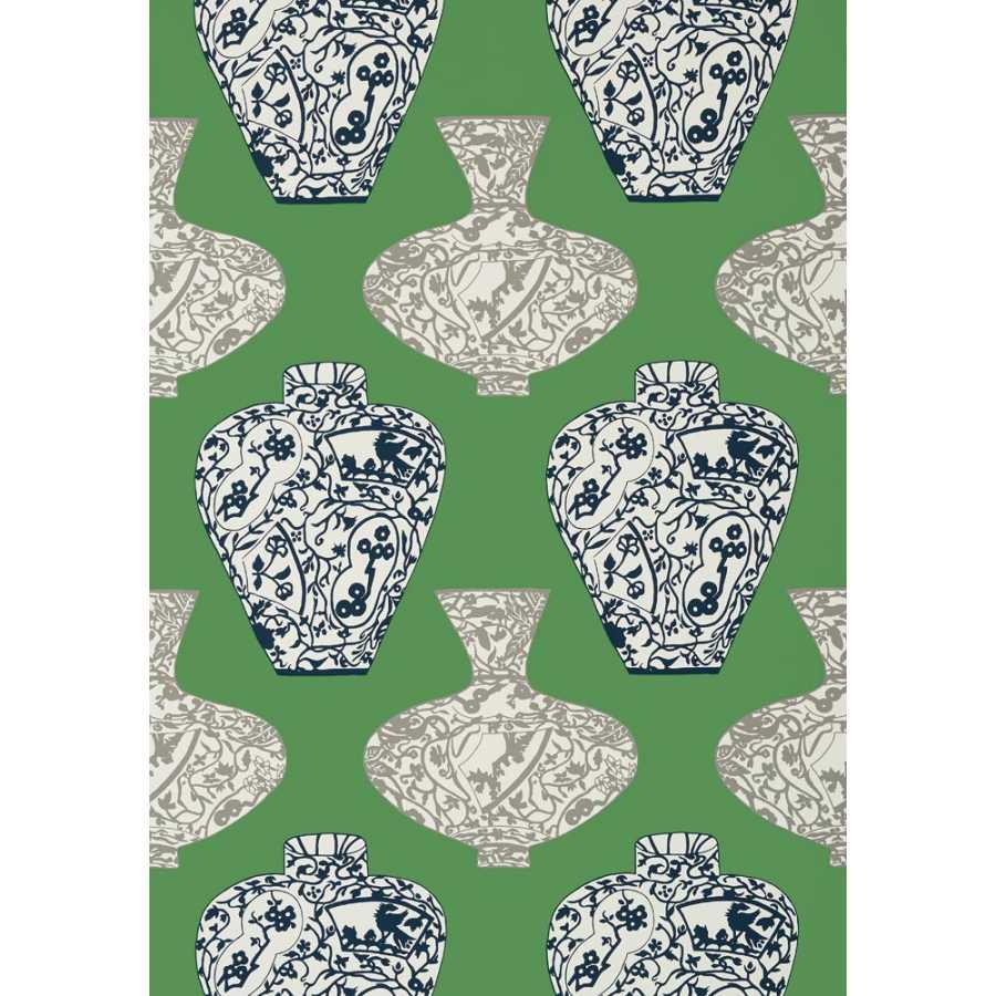 Thibaut Summer House Imari Vase T13125 Emerald Green Wallpaper