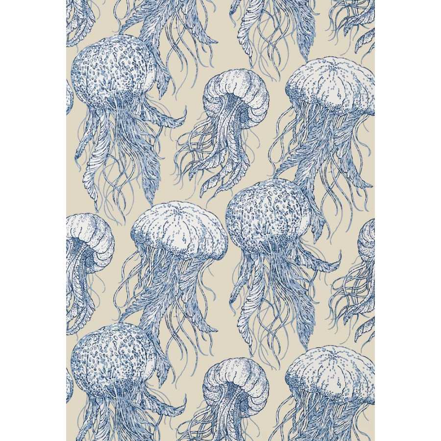 Thibaut Summer House Jelly Fish Bloom T13168 Blue and Beige Wallpaper