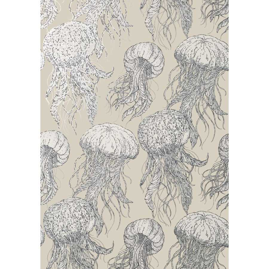 Thibaut Summer House Jelly Fish Bloom T13169 Silver on Beige Wallpaper