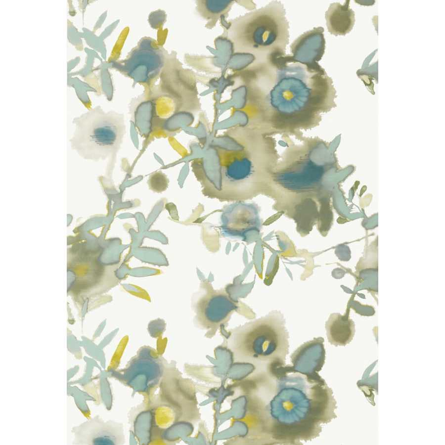Thibaut Summer House Open Spaces T13085 Beige and Teal Wallpaper