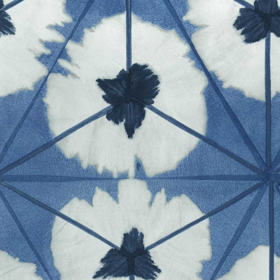 Thibaut Summer House Sunburst T13093 Navy Wallpaper