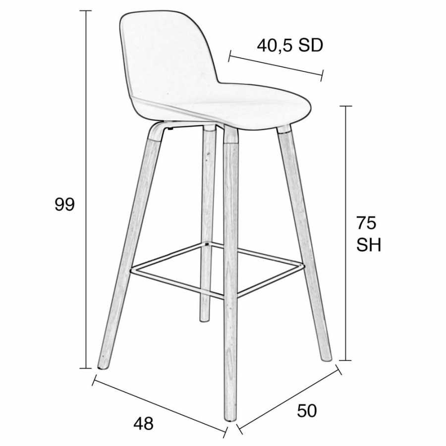 Zuiver Albert Kuip Bar Stools - High - Sizes in cm