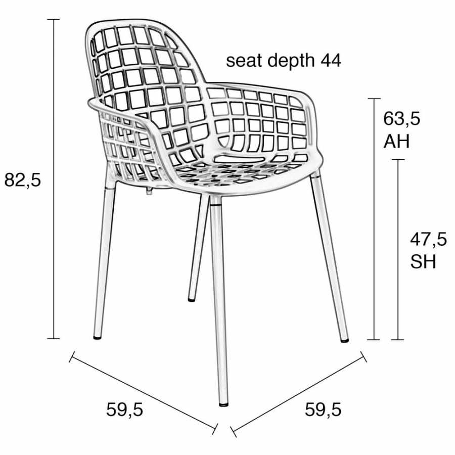 Zuiver Albert Kuip Garden Armchair - Sizes in cm