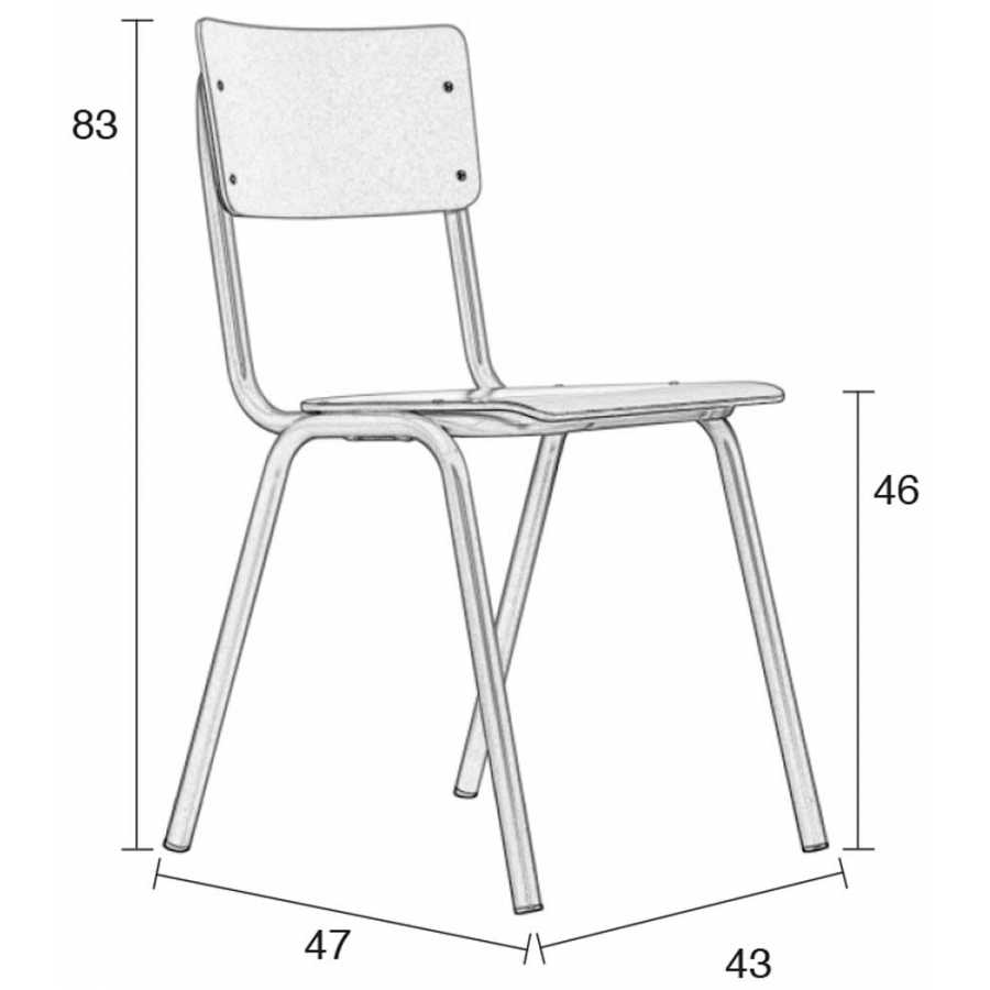 Zuiver Back To School Matte Chair - Brown - Diagram